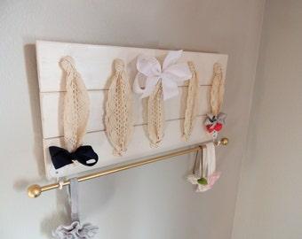 Hair Bow Holder Bow Holder Bow Organizer Headband Holder Headband Organizer Neutral Bow Holder Neutral Nursery Decor