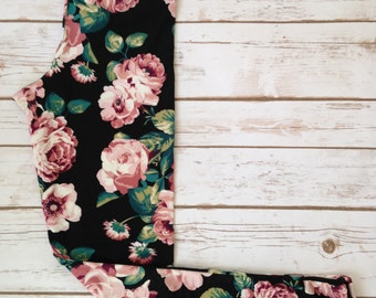 Brushed Poly Leggings, Large Blush Pink Roses on Black