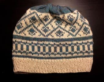 Green Stranded Colorwork Knit Hat