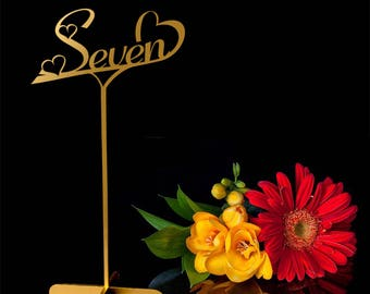 Table numbers. Gold Table numbers with base.Wedding Decor.