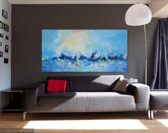 Large Abstract Painting Original Blue Seascape, Impasto, Palette Knife Art, Water Painting, Ocean Wall Art Canvas, Modern Art Made2Order