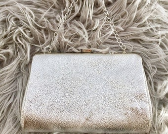 Vintage Silver Evening Bag Clutch with Silver Chain Strap, Dressy Handbag Purse, Gift for Her, Vintage Accessory