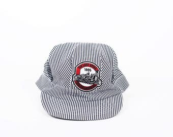 Vintage Striped Cap Train | Railway Cap | Retro Locomotive Cap | Striped cap blue and white | Railroad hat