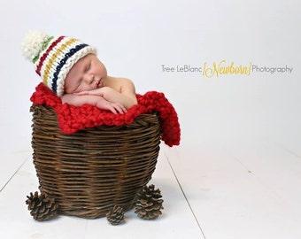Hudson's Bay Inspired Chunky Knit Hat Beanie Pompom - Photo Shoot Prop - Newborn, Baby, Child, Women