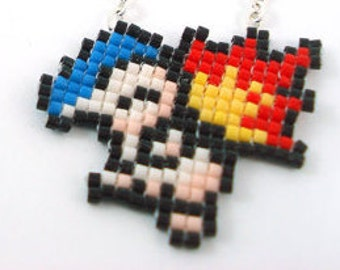 Pixelated Beaded Cyndaquil Pokemon Sprite Necklace - Starter Pokemon Fire Geeky Jewelry Nerdy