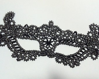 Vintage black lace women's mask, brussels lace mask, masquerade mask, black mask, bobbin lace mask, gift from her