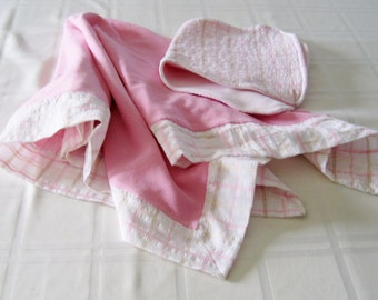White and Pink Plaid Gauze and Pink Cotton Knit Baby Swaddling Receiving Blanket with matching Burp Cloth, Baby Shower Gift,Nursery, Layette