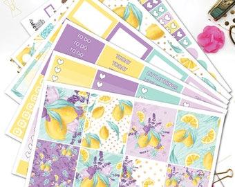 Lemonade Planner Stickers/Lemons and Lavender Planner Stickers/Weekly Sticker kit for Erin Condren Lifeplanner/Purple Yellow Lemon kit