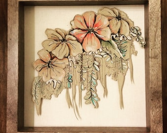 Unique, hand-made flower drawing prints