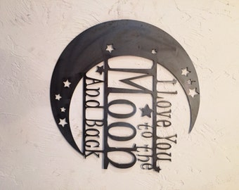 """I love You to the Moon and Back! 18"""" x 18"""" With 18"""" stake"""
