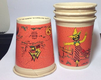 Vintage Paper Halloween Cups With Handles Handi-Handles Beach Products Set Four