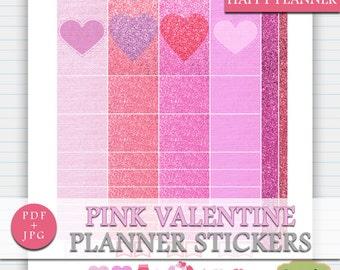 Valentines Happy Planner Printable Stickers, Happy Planner Pink Stickers, Love Stickers Mambi Planner, Pink February Sticker Kit Digital