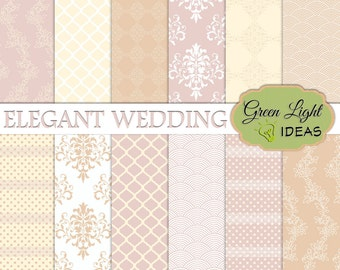 Elegant Wedding Digital Papers, Wedding Backgrounds, Bridal Digital Papers, Damask Patterns, Wedding Scrapbook Paper, Bridal Shabby Papers
