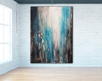ORIGINAL ABSTRACT PAINTING Custom Un-stretched Canvas Painting Teal Painting Art Blue Abstract Canvas Art Modern Art Acrylic Painting