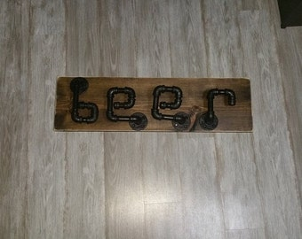 Steampunk Beer sign/Farmhouse beer sign/Industrial beer sign/Plumbing Pipe Beer Sign/Man Cave Sign/Bar Sign/Man Cave Beer Sign/Beer