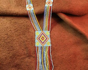 Native American Style Glass Seed Bead Rug Necklace