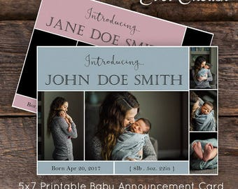 Baby Announcement 5x7 Printable Card Photo Template - Photo Digital Collage  PSD Social Media Blog Photography
