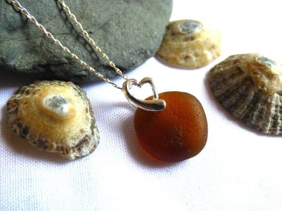 Brown Sea Glass, Amber Sea Glass, Amber Pendant, Brown Pendant, Amber Beach Glass, Sea Glass Necklace, Heart Pendant, Beach - PC16003