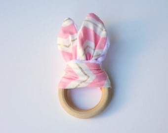 Pink, Gold & White Chevron Wooden Baby Teething Ring, wooden baby teether, baby gift, baby shower gift