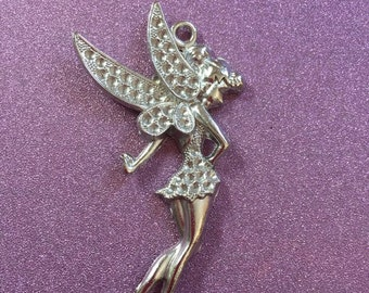 1 Extra Large Silvertone Fairy Charm