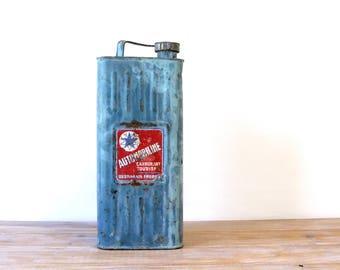 French antique blue fuel can, industrial loft petrol can, petrol barrel, vintage car motor fuel can, metal fuel can, metallic blue fuel can