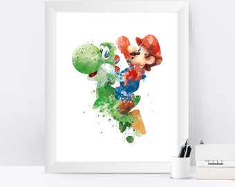 Super Mario Art Print, Games, Super Mario Bros, Yoshi, Video Game, Playstation, Xbox, Gaming, Printable, Wall Art, Home Decor, Gift