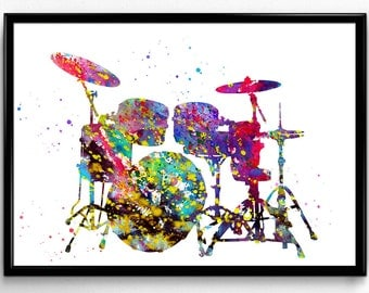 Drums, Drum Set, Musical Instrument, Colorful Watercolor,Instant Download, Poster, Room Decor, gift, printable wall art  (154)