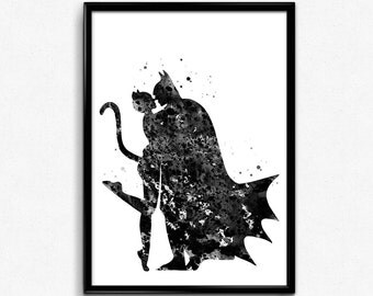 Batman and Catwoman, Superhero, Black and white, Poster, Room Decor, gift, Print, Wall Art (236)
