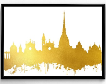 Turin Skyline, Travel, City Skyline, gift, Poster, Room Decor, printable wall art (97)