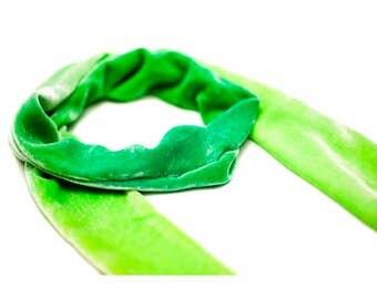 Green Goddess Velvet Skinny Scarf
