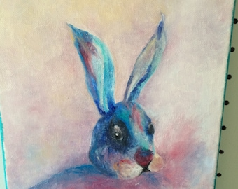 Blue Bunny oil painting
