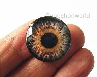 Eye Ball Cabochon Circle Handmade Photo Glass Round Dome Flat Back 8mm 10mm 12mm 14mm 16mm 18mm 20mm 25mm 30mm CW579