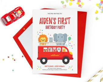 1st birthday invitations boy Printable birthday invitations, Kids party invitations, Cars birthday invitations Zoo Animal birthday invites