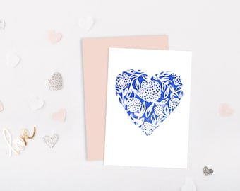 Mothers day card, A6 lino print, birthday greeting card, Card for Anniversary card, thank you card Birthday card, blue card mothers day gift