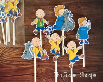 CAILLOU Cupcake Toppers / Cake Toppers / Die Cuts / Birthday Party / Decorations / Cake Pops / Supplies / Decor / Fast Shipping