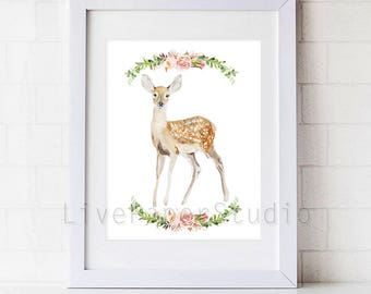 Watercolor Fawn print, Forest Animal Art giclee print, Woodland Animal Room Decor, Fawn Nursery Decor, Baby Animal painting, Animal Prints