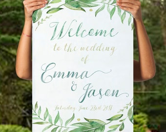 printable welcome to the wedding sign printable green wedding welcome sign greenery wedding decor leafy wreath custom sign customized sign