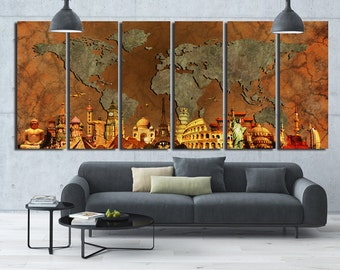 EXTRALARGE World Map 6 Panels Art Canvas Print Original Wonders of the world Abstract World  Map  Wall decor Home interior
