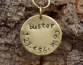 Brass dog ID tag, 1 inch hand stamped dog tag, hand brushed dog ID tag,  cork dog tag, dog tag silencer, sustainable dog tag