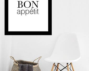 Bon Appetit Print, Instant Download Print, Kitchen Art, Minimalist Art