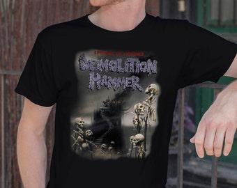 Demolition Hammer T-shirt Demolition HammerTshirt Demolition Hammer Men Shirt Rock T-shirt Rocker tee