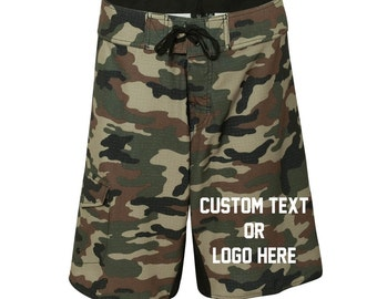 Camo Boardshorts  - Custom/Personalized Swim Shorts - Military Boardshorts - Army Boardshorts - Camo Swim Trunks - Black Camo & Green Camo