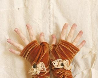 Golden Mori Girl Fingerless Gloves - Lush Velvet Hand Warmers - Lace Rose Brass Button One-of-a-Kind - Handmade in Kansas, USA