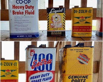 Vintage Oil Cans MM Minneapolis M 1 Gal - Coop Brake Fluid 1 G. 400 Extra Brake Fluid 1 G. Red Devil Soot Remover 1 Q Di Zolv It Set of Five