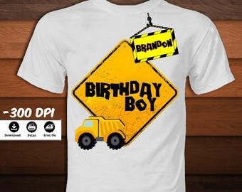 Personalized Construction Iron on Transfer Shirt-Printable Construction Birthday Image-Truck Birthday Boy party decoration-DIGITAL DOWNLOAD