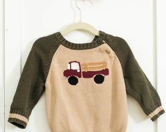 Vintage fire truck sweater 12- 18 months