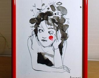 Pensive girl, original painting