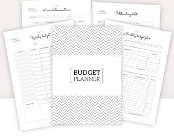 BUDGET PLANNER | Finances | Instant Download | account transaction, saving, debt, expenses review, monthly budget plan, yearly budget