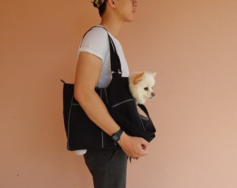 Dog carrier, Black/Grey, Water resistant nylon, women, shoulder bag, tote, dog carrier, cat carrier - LOLY
