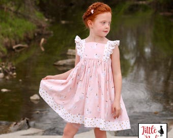 Swan Princess Dress - Little Girl's Dress - Fairytale Dress - Play Dress - Spring Dress - Summer Dress - Pastel and Ruffles